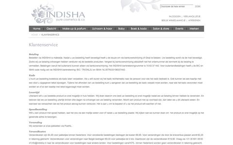 Screenshot of Support Page indisha.nl - Klantenservice - captured Oct. 3, 2014