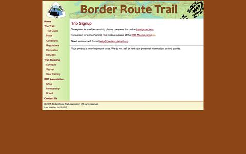 Screenshot of Signup Page borderroutetrail.org - Border Route Trail - Trip Signup - captured April 28, 2018