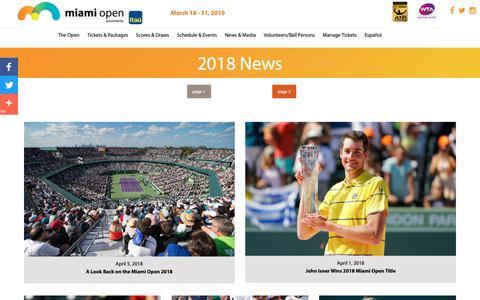 Screenshot of Press Page miamiopen.com - 2018 News - captured Oct. 22, 2018