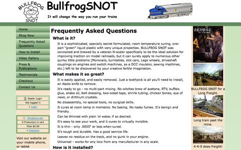 Screenshot of FAQ Page bullfrogsnot.com - Bullfrog SNOT :: Frequently Asked Questions - captured Oct. 5, 2014