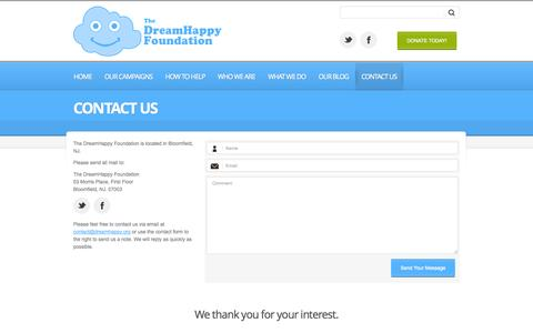 Screenshot of Contact Page dreamhappy.org - Contact Us » DreamHappy Foundation - captured Oct. 5, 2014