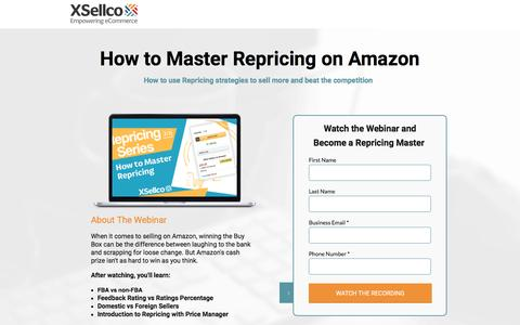 Screenshot of Landing Page xsellco.com - How to Master Repricing with Amazon Repricing Software [Webinar] - captured June 21, 2016