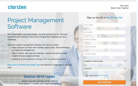 Screenshot of Landing Page clarizen.com - Online Project Management Software l Clarizen - captured March 15, 2016