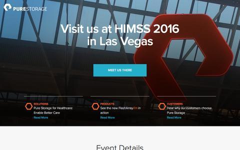 Screenshot of Landing Page purestorage.com - Pure Storage | HIMSS 2016 - captured March 15, 2016