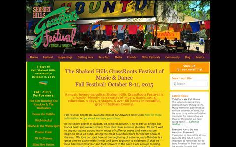 Screenshot of Home Page shakorihillsgrassroots.org - Shakori Hills Grassroots Festival | - captured Sept. 29, 2015