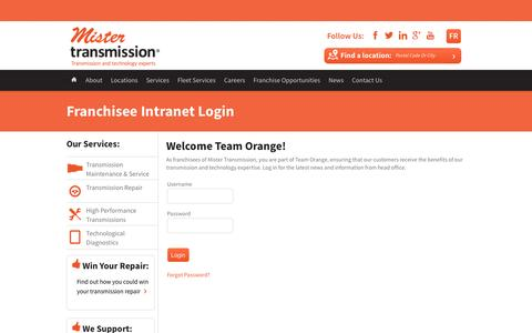 Screenshot of Login Page mistertransmission.com - Dealer Login | Transmission Repair | Mister Transmission Intranet - captured Dec. 13, 2016