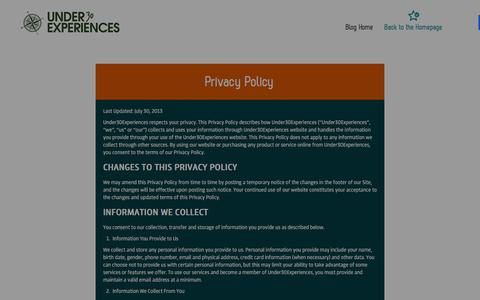 Screenshot of Privacy Page under30experiences.com - Privacy Policy - Under30Experiences - Under30Experiences - captured Jan. 18, 2016