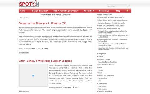 Screenshot of Press Page spotonseo.com - News - SEO & Web Design Services - captured Feb. 3, 2017