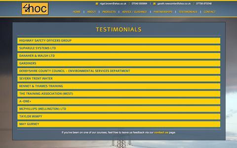 Screenshot of Testimonials Page shoc.co.uk - SHOC   Testimonials - captured Oct. 6, 2014