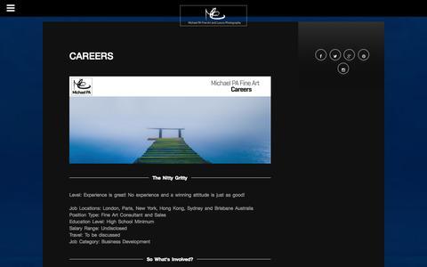 Screenshot of Jobs Page michaelpa.com - Careers with Michael PA Fine Art | Michael PA - Fine Art and Luxury Photography - captured Oct. 1, 2014