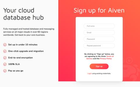 Screenshot of Signup Page aiven.io - Aiven console - Signup - captured July 8, 2018
