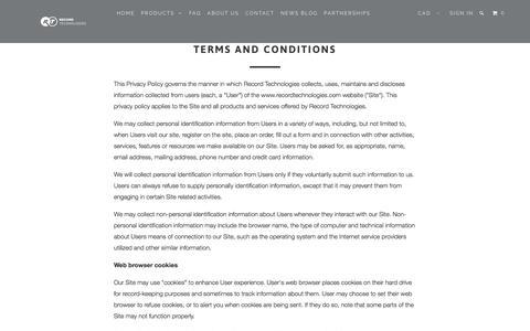 Screenshot of Terms Page recordtechnologies.com - Terms and Conditions > Record Technologies - captured Nov. 30, 2016