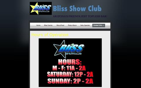 Screenshot of Hours Page blissshowclub.com - Hours of Operation | Bliss Show Club - captured Sept. 30, 2014