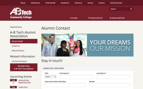 Screenshot of Signup Page abtech.edu - Alumni Contact | Asheville-Buncombe Technical Community - captured Sept. 22, 2018