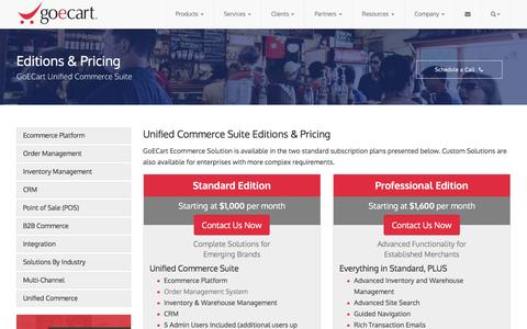 Screenshot of Pricing Page goecart.com - Editions & Pricing - Unified Commerce Suite | GoECart - captured July 15, 2016
