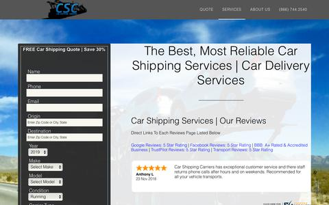 Screenshot of Services Page carshippingcarriers.com - Best Car Shipping Services | Reliable Car Delivery Service | Reliable Auto Transport Services - captured Nov. 28, 2018