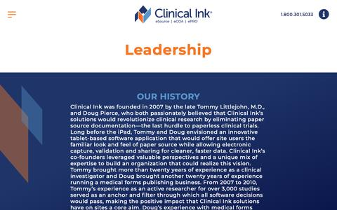 Screenshot of Team Page clinicalink.com - Leadership | Clinical Ink - captured May 13, 2019