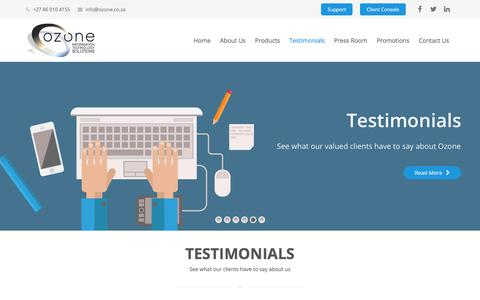 Screenshot of Testimonials Page ozone.co.za - Testimonials | See what our clients say about us - captured Oct. 22, 2017