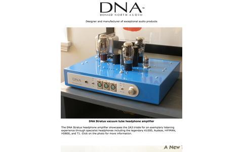 Screenshot of Home Page dnaudio.com - DNA Donald North Audio vacuum tube SET triode headphone amplifier - captured Oct. 1, 2014
