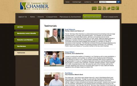 Screenshot of Testimonials Page sttammanychamber.org - St. Tammany West Chamber of Commerce | Testimonials - captured Nov. 5, 2014