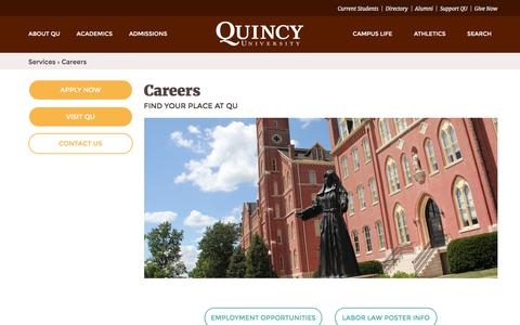 Screenshot of Jobs Page quincy.edu - Careers | Quincy University - captured Feb. 2, 2016