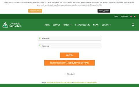 Screenshot of Login Page italbiotec.it - Consorzio Italbiotec - Login - captured Sept. 29, 2018