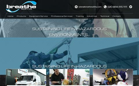 Screenshot of Home Page breathesafety.com - Breathing Apparatus & Confined Space Training In UK - captured Sept. 16, 2015