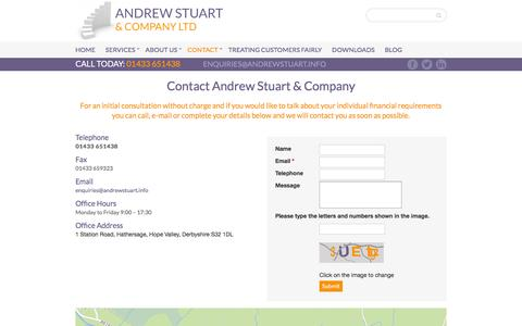 Screenshot of Contact Page andrewstuart.co.uk - Independent Financial Adviser Sheffield | Honest Effective Life Planning | Andrew Stuart Financial Services | Contact - captured Feb. 6, 2016