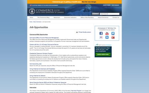 Screenshot of Jobs Page commerce.gov - Job Opportunities | Department of Commerce - captured Sept. 18, 2014