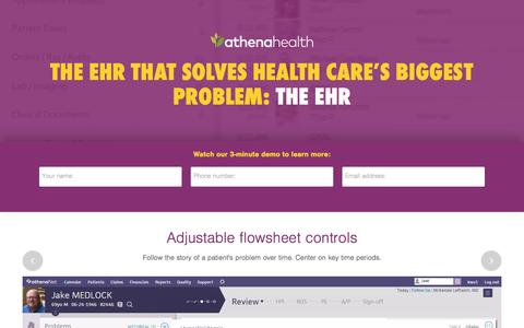 Screenshot of Landing Page athenahealth.com - Cloud-Based EHR and Practice Management Services | athenahealth - captured March 25, 2016