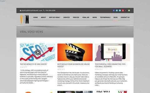 Screenshot of Blog viralvideokc.com - Viral Video Marketing   Kansas City   Blog - captured Jan. 28, 2016