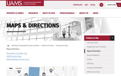 Screenshot of Maps & Directions Page uams.edu - Maps & Directions     Winthrop P. Rockefeller Cancer Institute - captured Oct. 23, 2018