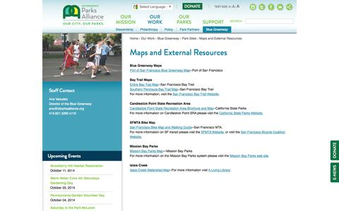Screenshot of Maps & Directions Page sfparksalliance.org - Maps and External Resources | San Francisco Parks Alliance - captured Oct. 4, 2014