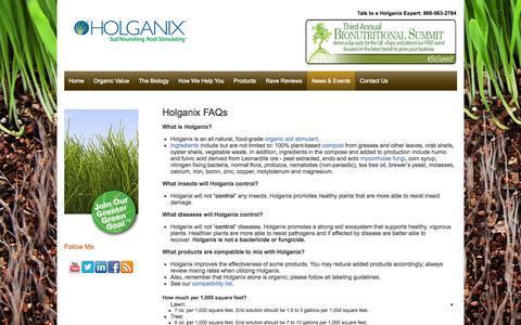Screenshot of FAQ Page holganix.com - Holganix - FAQs - captured Oct. 28, 2014