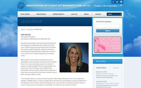 Screenshot of Team Page afacwa.org - Leadership - Association of Flight Attendants-CWA - captured Oct. 4, 2014