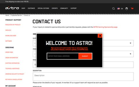 Screenshot of Contact Page astrogaming.com - Contact Us | ASTRO Gaming - captured April 14, 2018