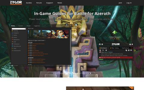 Screenshot of Home Page zygorguides.com - Zygor Guides - captured Dec. 10, 2018