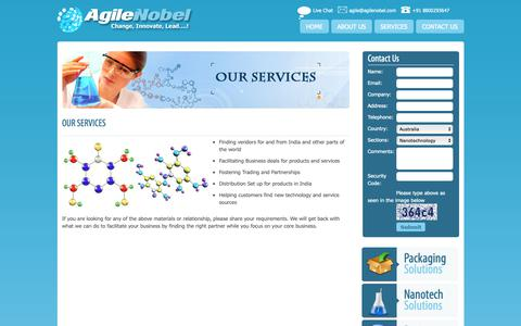 Screenshot of Services Page agilenobel.com - Find Vendors, contact for partnership Distribute Products in India  Oxygen Absorbers for food - captured Nov. 2, 2018