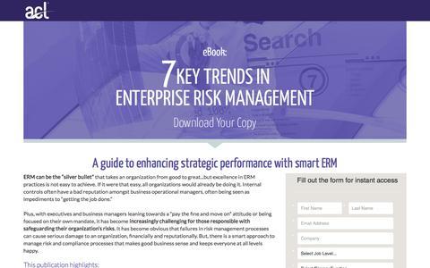 Screenshot of Landing Page acl.com - Download 7 Key Trends in Enterprise Risk Management - captured July 6, 2017