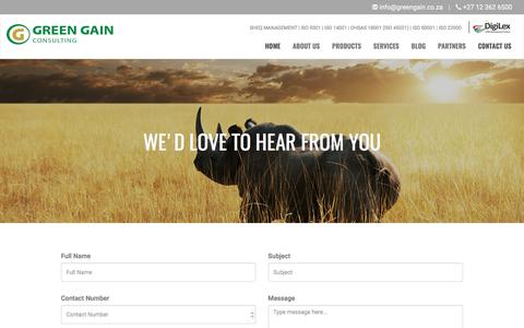 Screenshot of Contact Page greengain.co.za - Our Contact Details, Location - Green Gain Consulting - captured Sept. 10, 2017