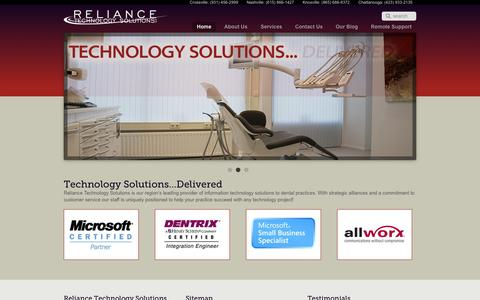 Screenshot of Home Page reliancets.com - Reliance Technology Solutions LLC | Our area's leading provider of technology solutions for dental practices - captured Oct. 6, 2014