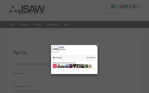 Screenshot of Signup Page jsaw.org - Sign Up - JSAW - captured Nov. 26, 2016