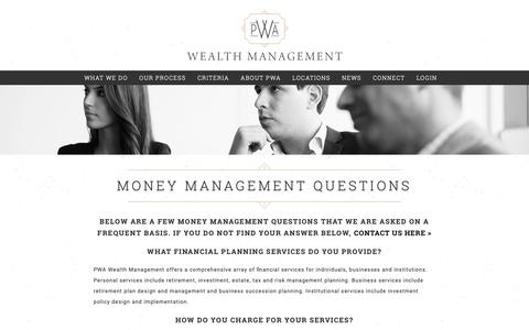 Screenshot of FAQ Page pwausa.com - Money Management Questions - Pittsburgh Financial Advisor - captured Nov. 11, 2018