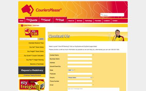 Screenshot of Contact Page couriersplease.com.au - Couriers Please - Contact - captured Nov. 2, 2014