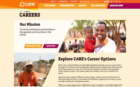 Screenshot of Jobs Page care.org - Careers | CARE - captured Nov. 6, 2014