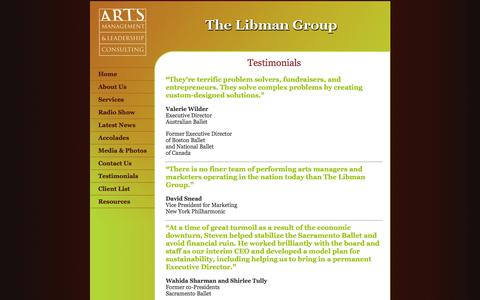 Screenshot of Testimonials Page thelibmangroup.com - Steven Libman - Arts Management and Leadership Consulting: Audience Development and Programming, Financial Development and Governance - captured Sept. 30, 2014