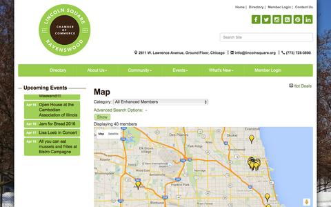 Screenshot of Maps & Directions Page lincolnsquare.org - Map - Lincoln Square Ravenswood Chamber of Commerce, IL - captured April 16, 2016