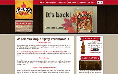 Screenshot of Testimonials Page themaplestore.com - Jakeman's Testimonials - Jakeman's Maple Products - captured Oct. 6, 2014