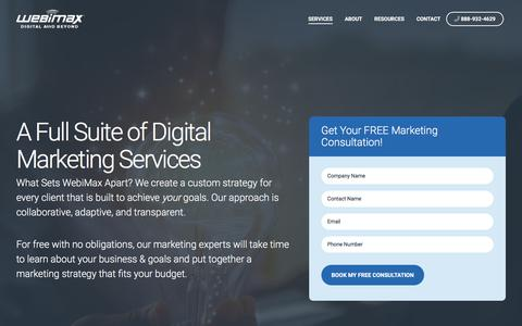 Screenshot of Services Page webimax.com - Digital Marketing Services Company | WebiMax - captured Nov. 18, 2019