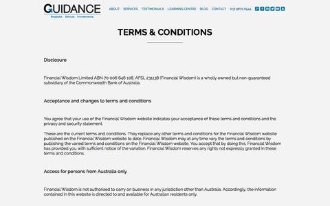 Screenshot of Terms Page guidancefs.com.au - Financial Advice - Financial Planning Companies - captured Feb. 2, 2016